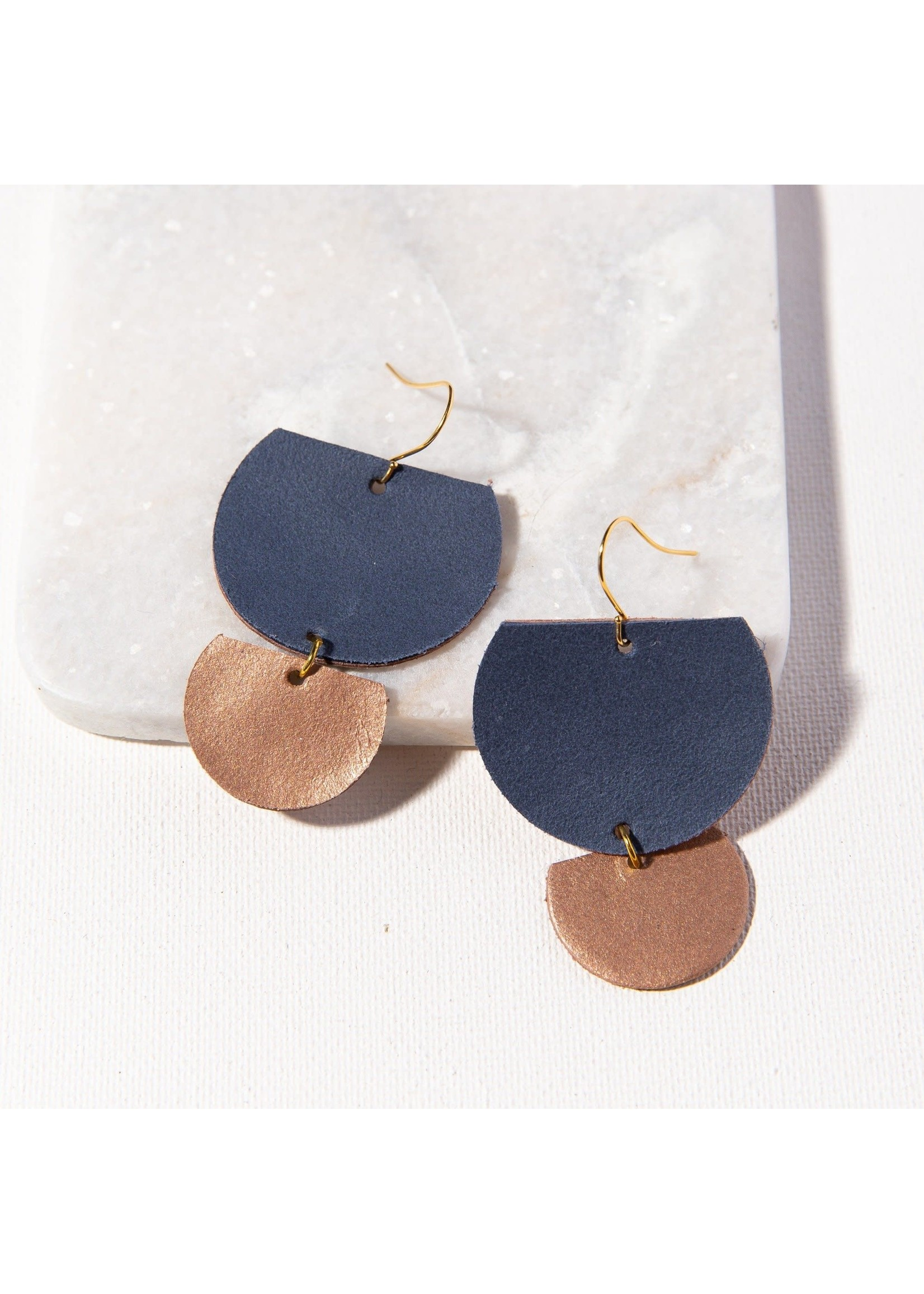 Ink + Alloy Indigo And Blush Half Circles Leather Earring