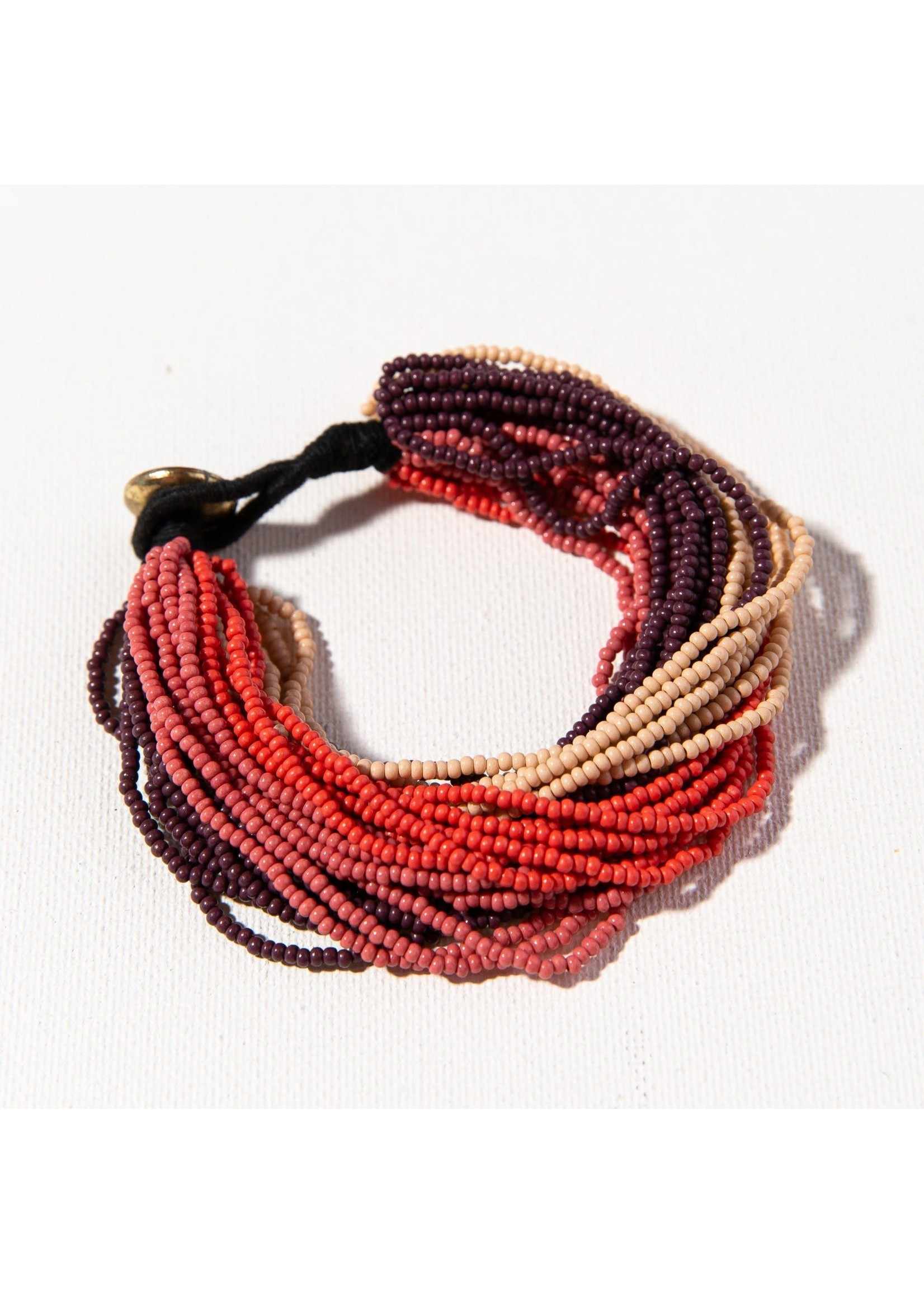 Ink + Alloy Pink Ombre Multi Layer Seed Bead Bracelet