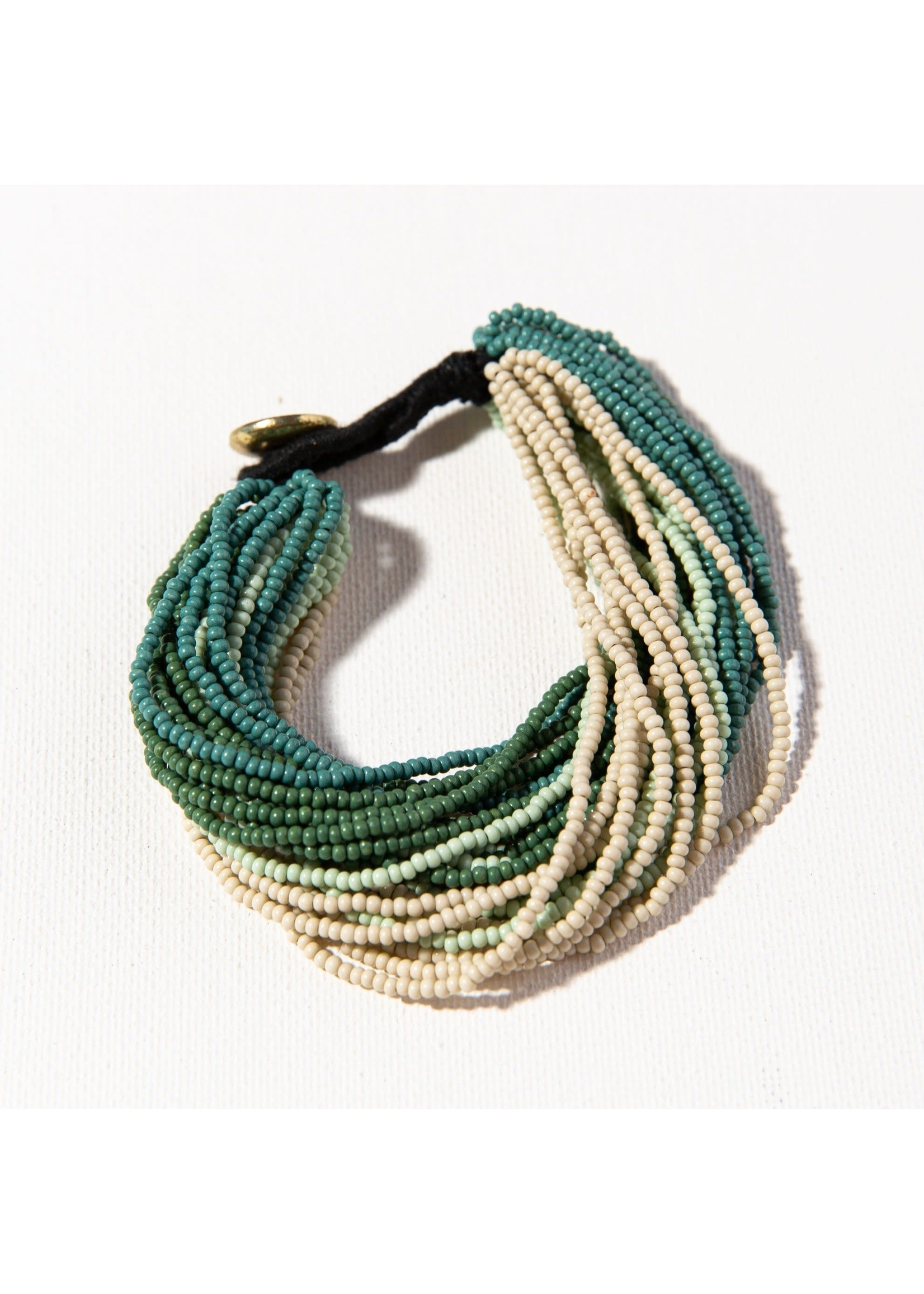 Ink + Alloy Teal Ombre Multi Layer Seed Bead Bracelet