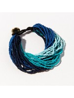 Ink + Alloy Blue Ombre Multi Layer Seed Bead Bracelet