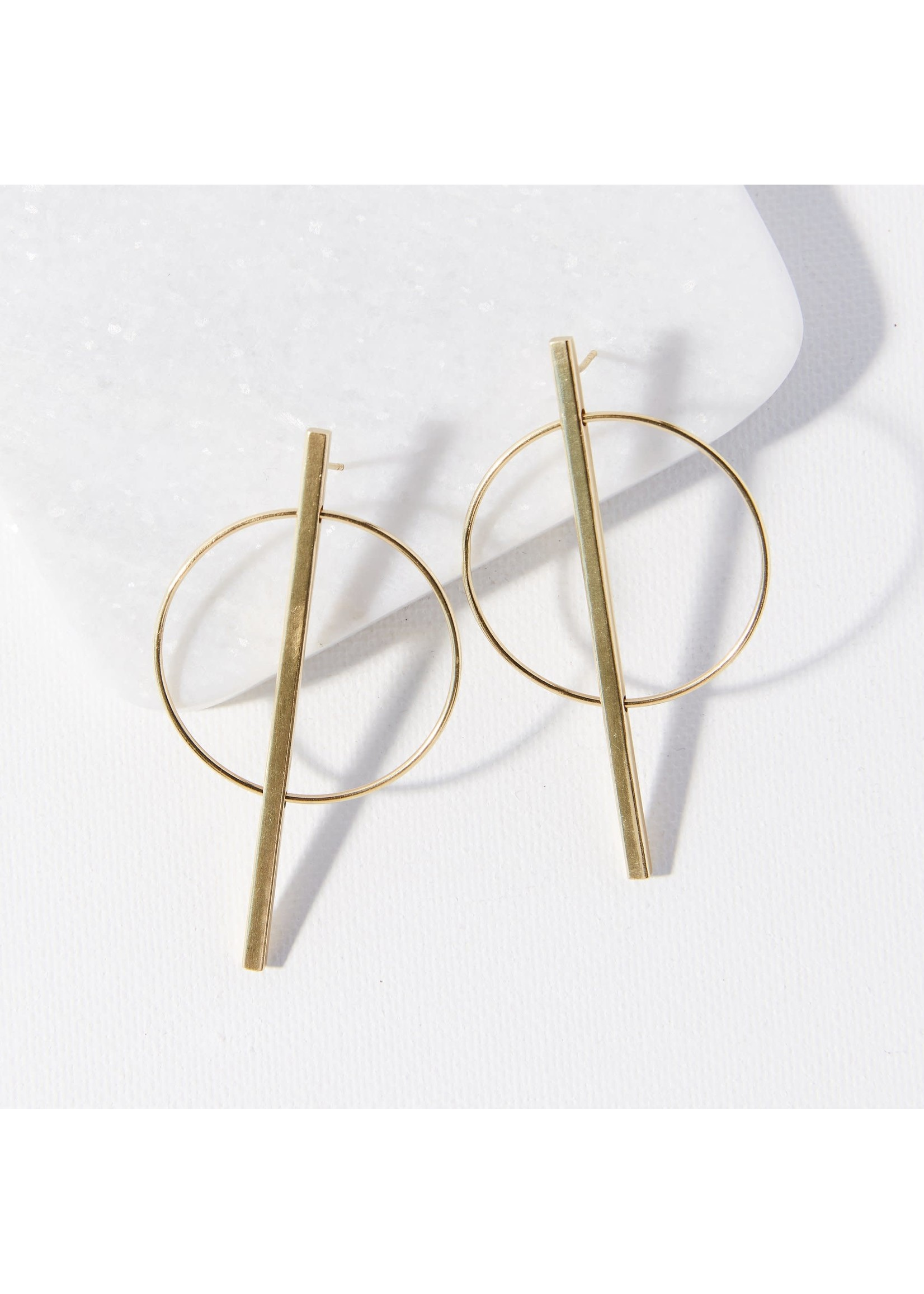 Ink + Alloy Brass Circle Stick Post Earring