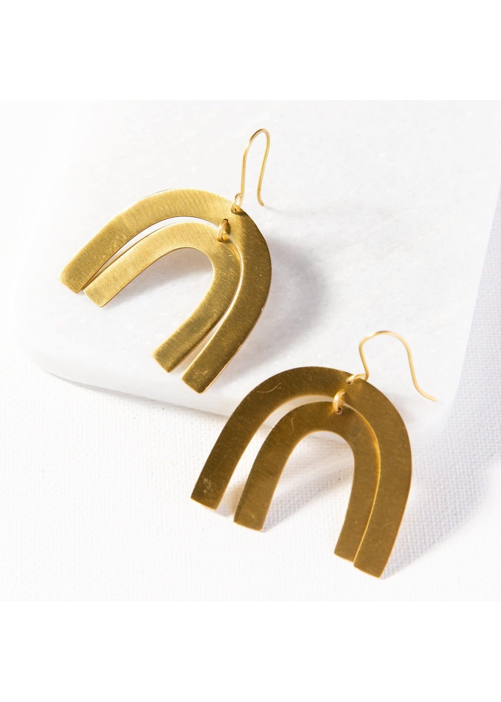 Ink + Alloy Matte Brass Rainbow Dangle Earring