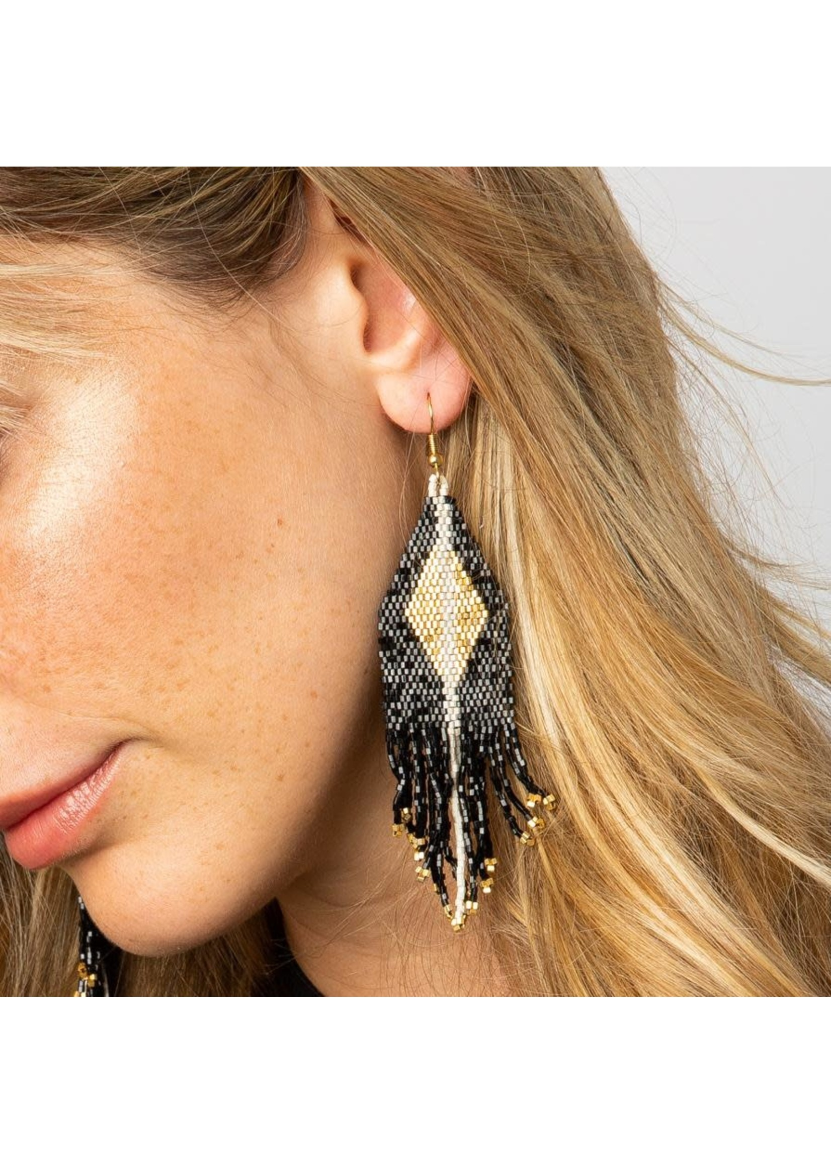 Ink + Alloy Black With Gold Fringe Earring