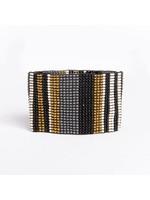 Ink + Alloy Black Ivory Gold Stripe Stretch Bracelet