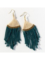Ink + Alloy Peacock Ivory Gold Stripe Bead Earring