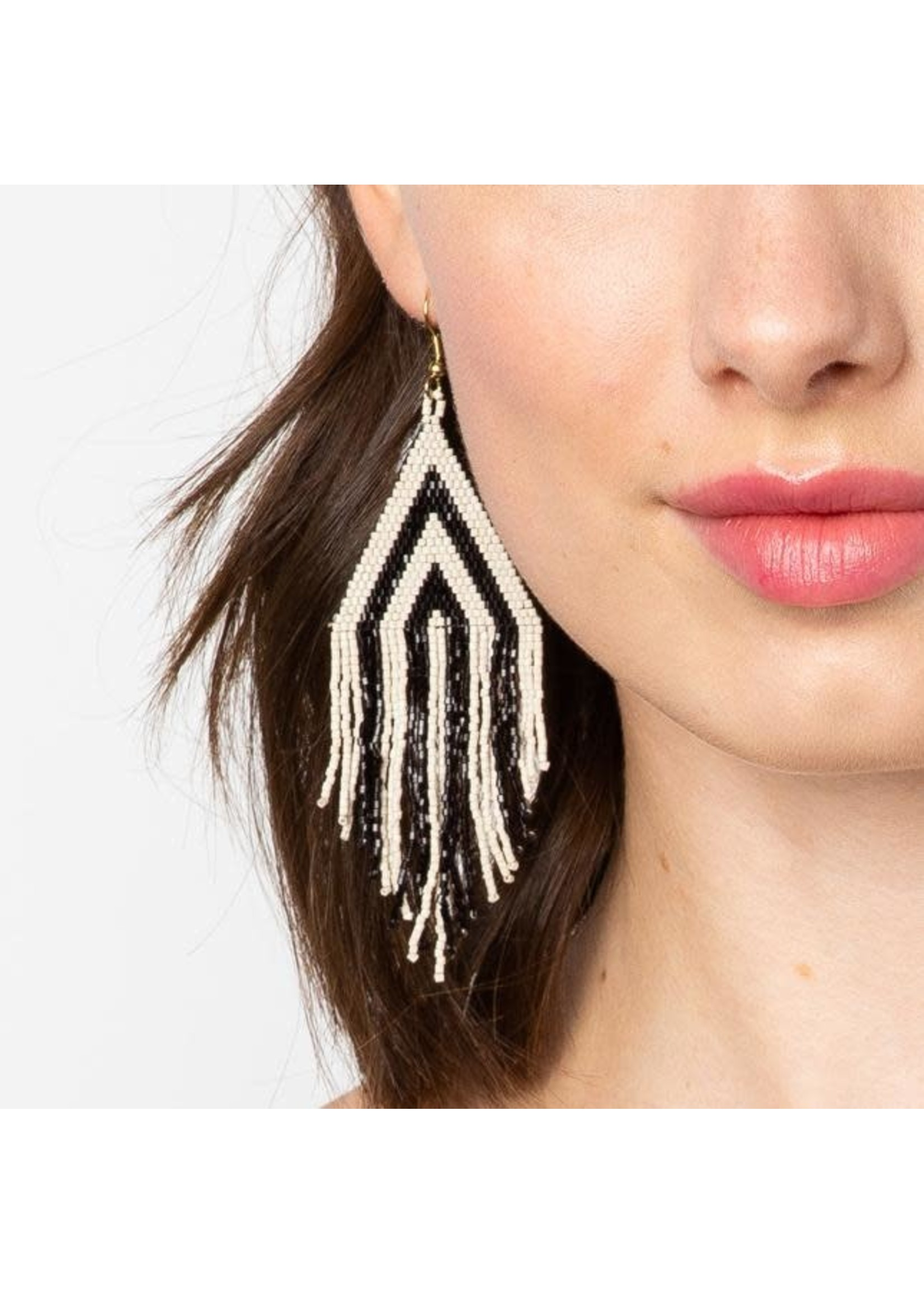 Ink + Alloy Black And Ivory Stripe Fringe Earring