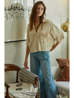 Cream Knit Rib Oversized Collared Crop Top