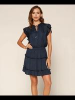 Skies Are Blue Navy Pleated Sleeve Mini Dress