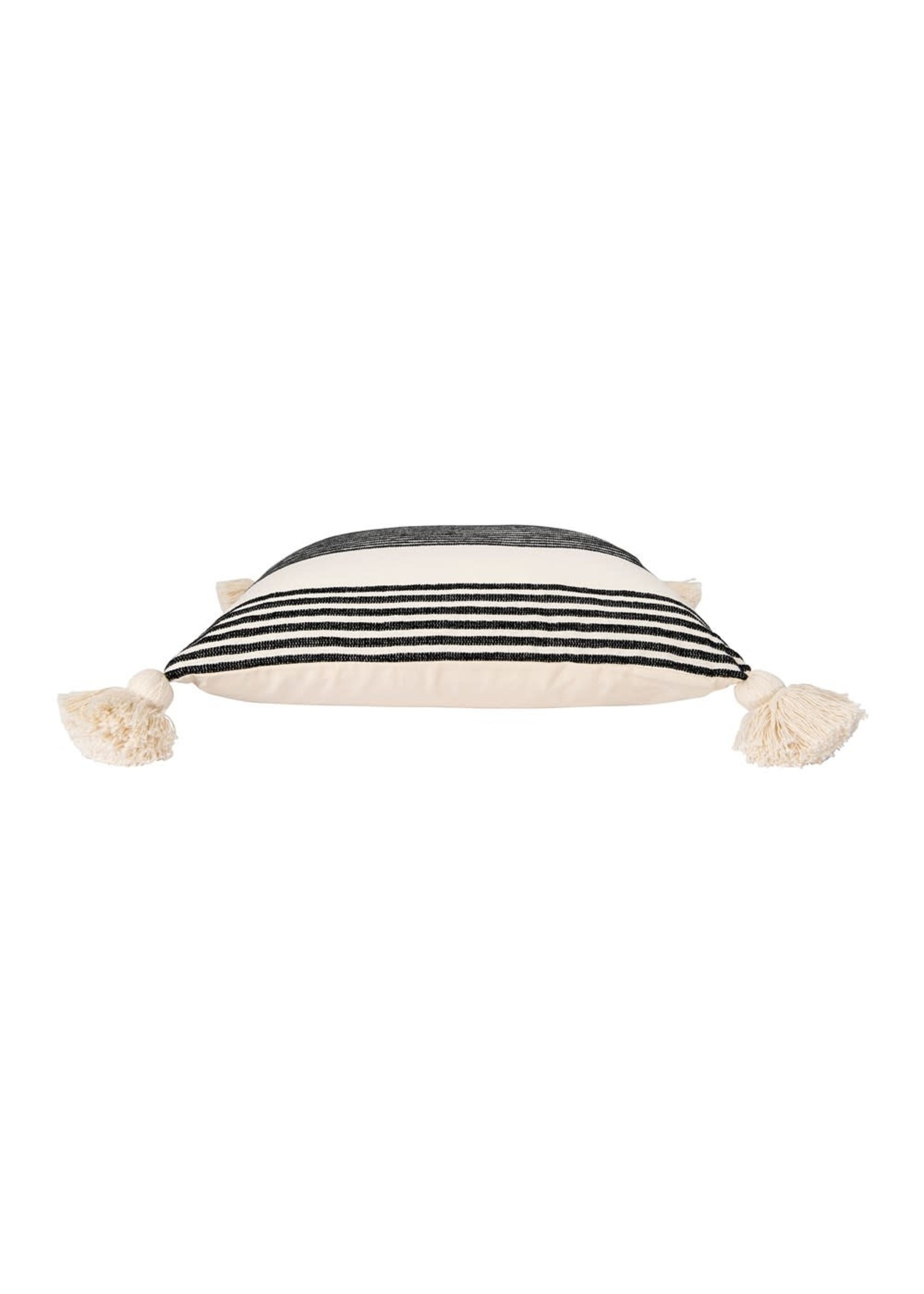 creative Co-op Black Square Stripped Pillow w Tassels