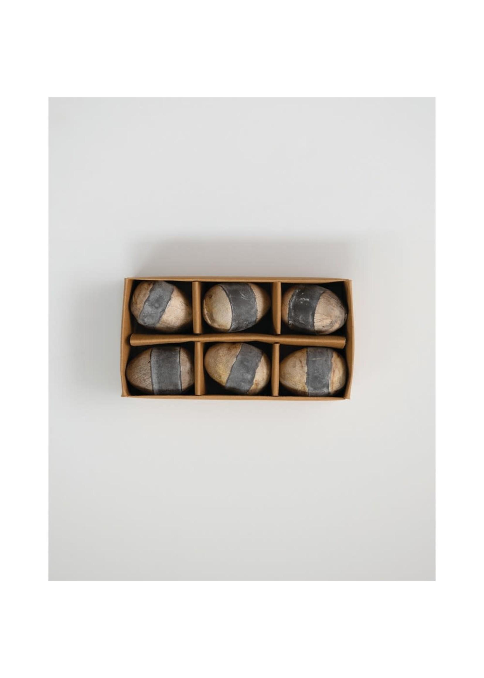 creative Co-op Wood Eggs in Box