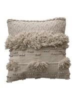creative Co-op Square Bohemian Pillow w Fringe