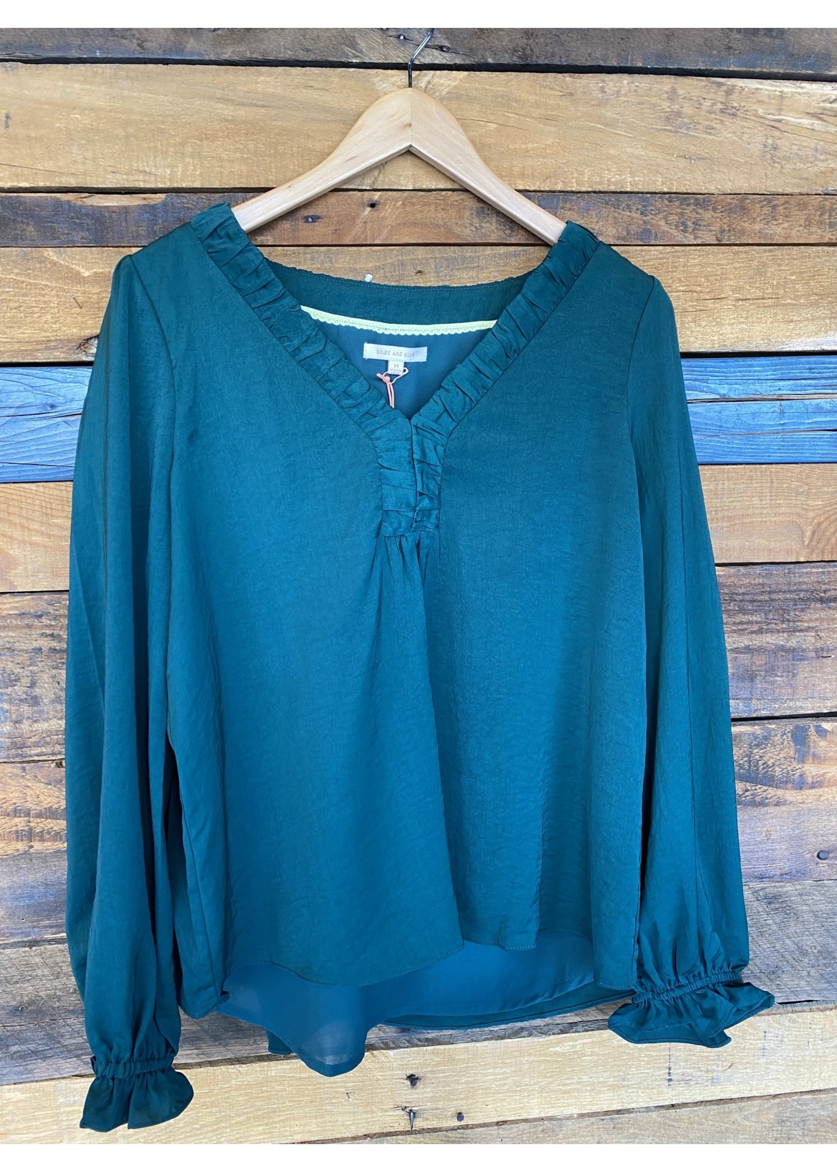 Skies Are Blue Green Satin V Neck Long Sleeve Top