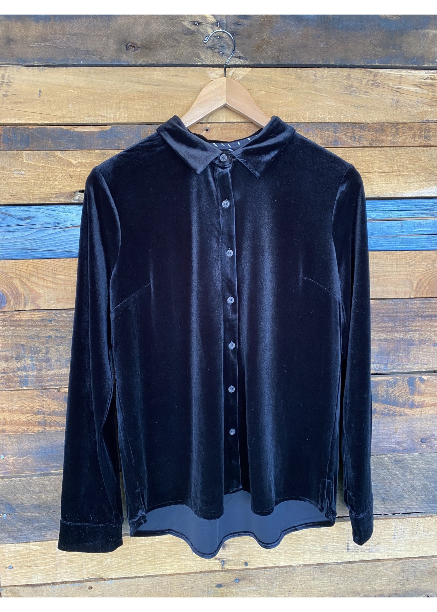 Skies Are Blue Black Velvet Button Up Top