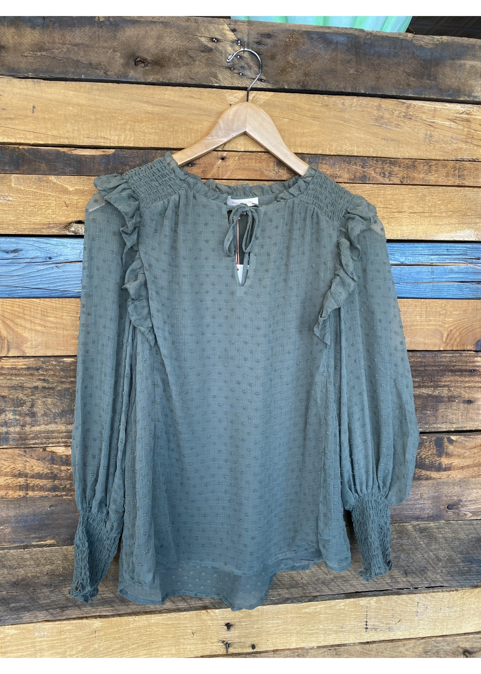 Skies Are Blue Olive Dot Ruffle Top