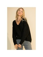 HYFVE Black V Neck Front Seam Sweater