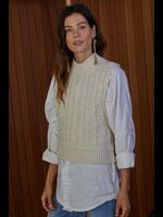 Cream Knit Sleeveless Sweater Cropped