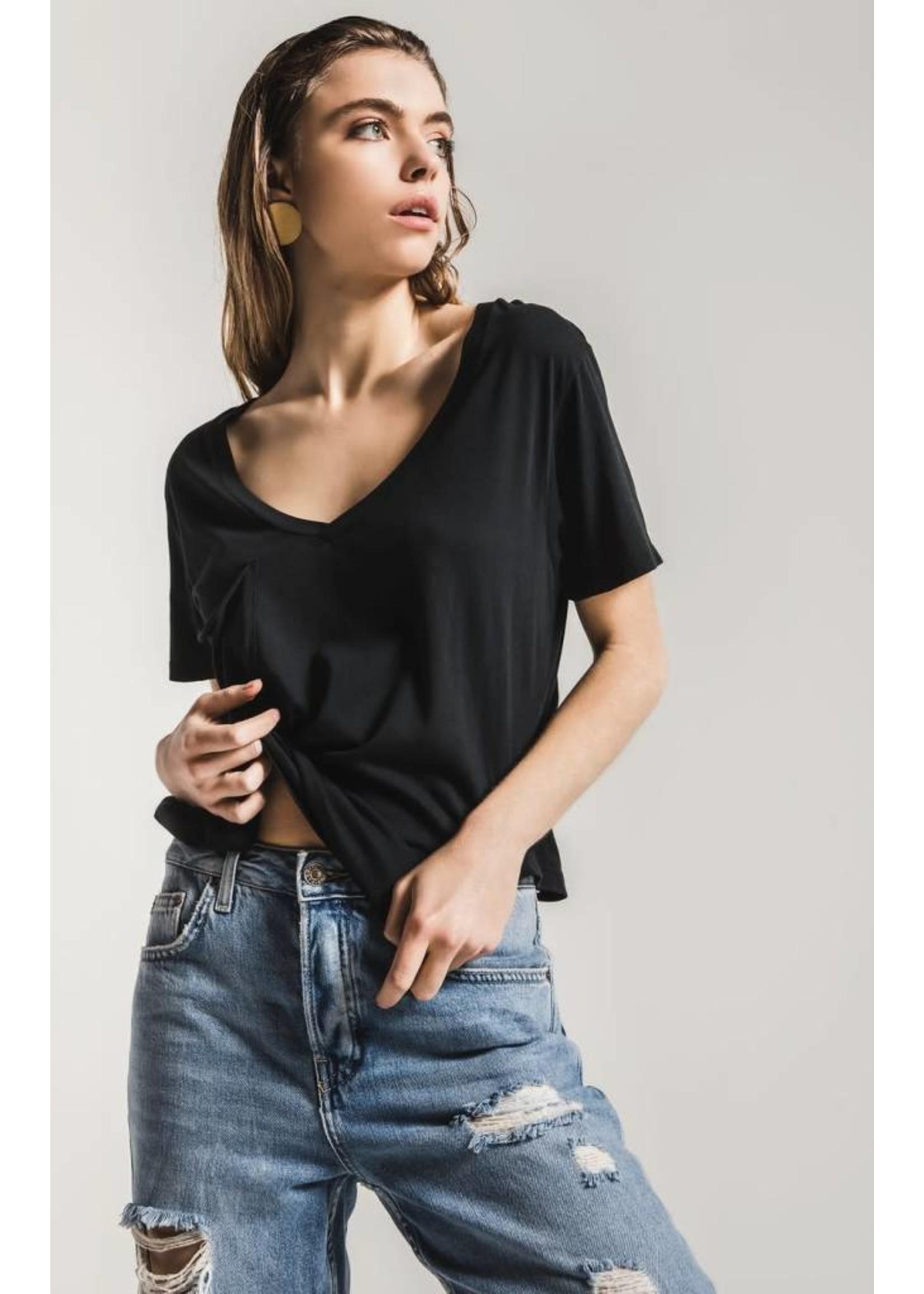 Sleek Jersey Pocket Tee- black