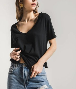 Sleek Jersey Pocket Tee- black