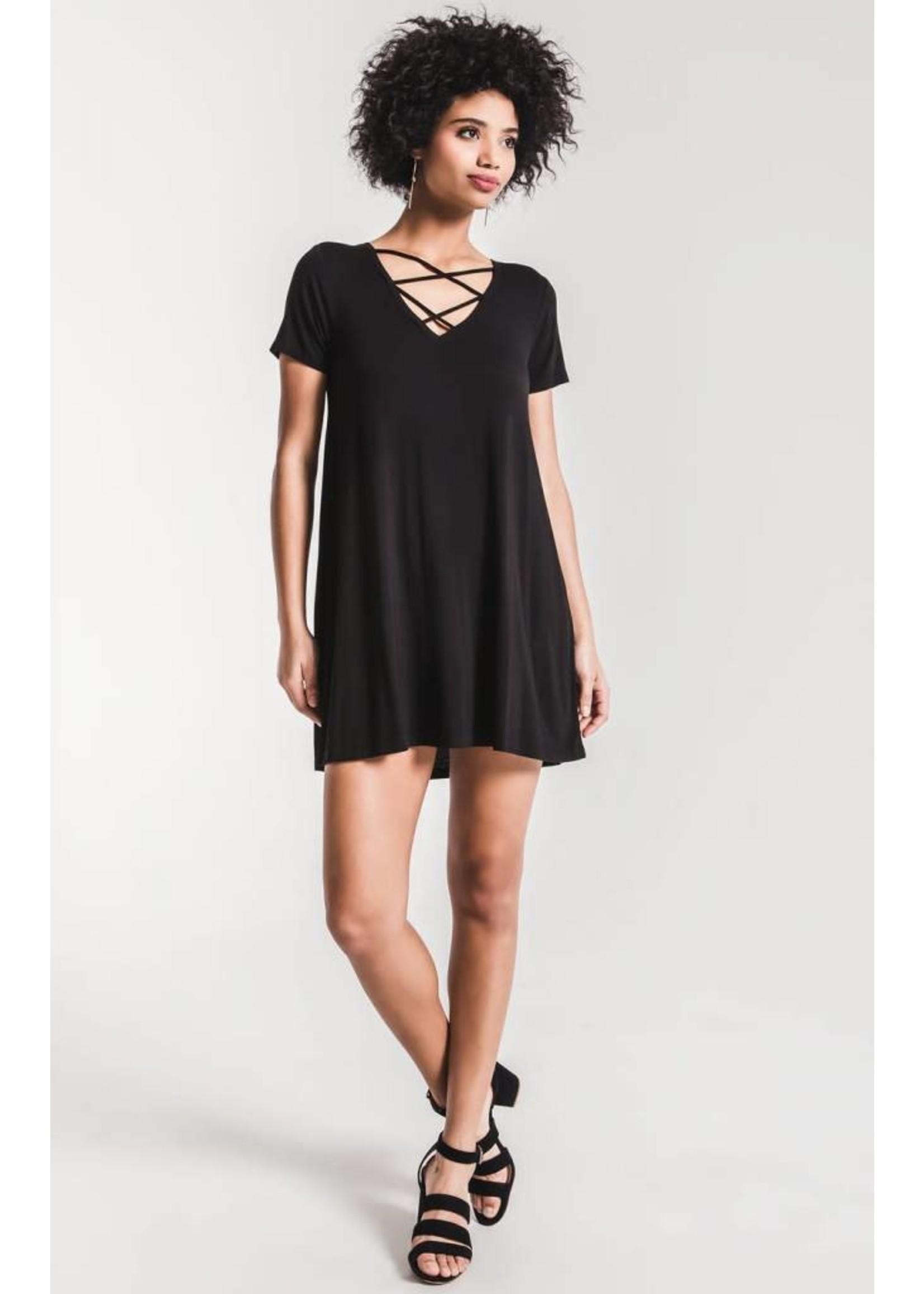 Cross Front Tee Dress- black