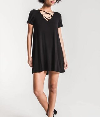 Cross Front Tee Dress- black