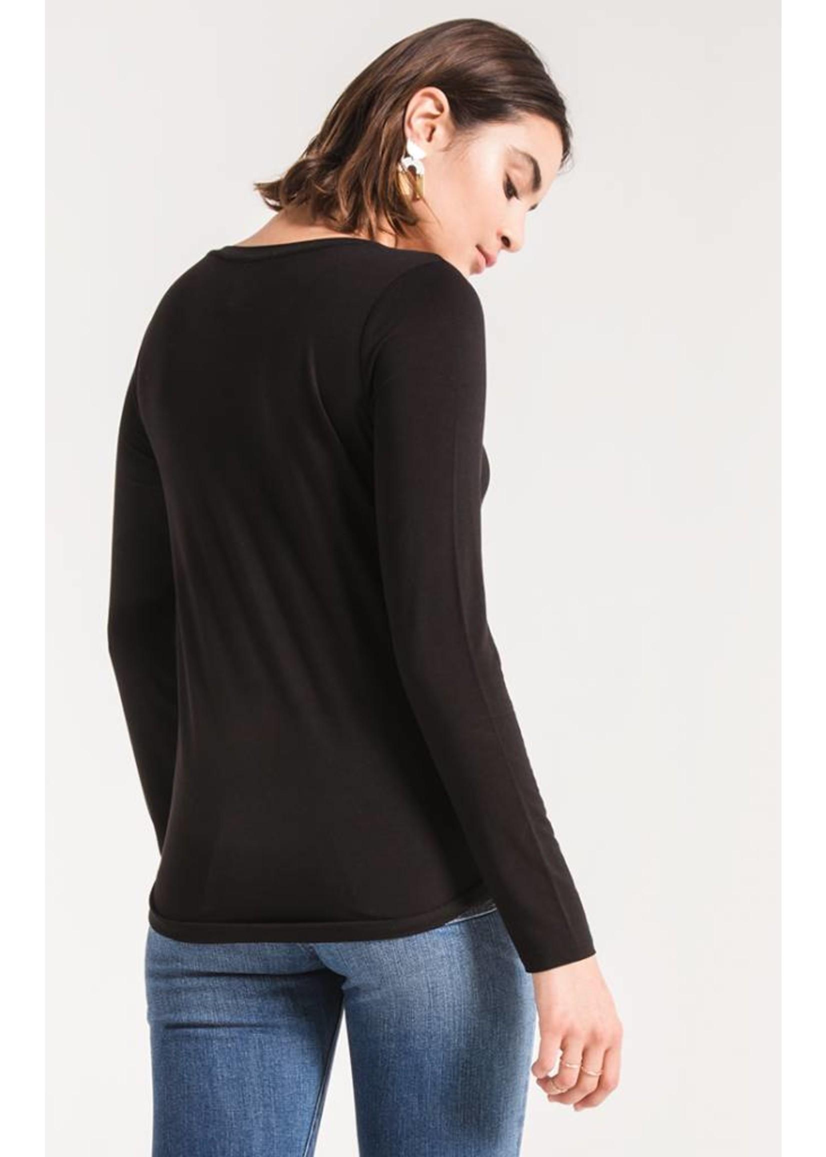 Twist Front Long Sleeve Tee- black