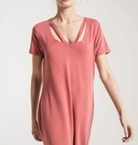 Cut-Out V Neck Dress- mineral red