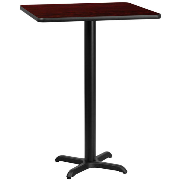 "Flash Furniture Flash 30"" Square Mahogany Laminate Table Top With 22"" x 22"" Bar Height Table Base"