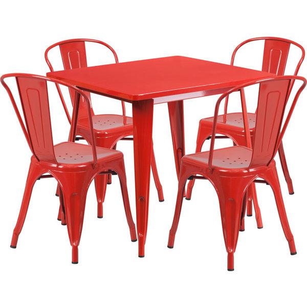 "Flash Furniture Flash Furniture 31.5"" Square Red Metal Indoor/Outdoor Table  Set"