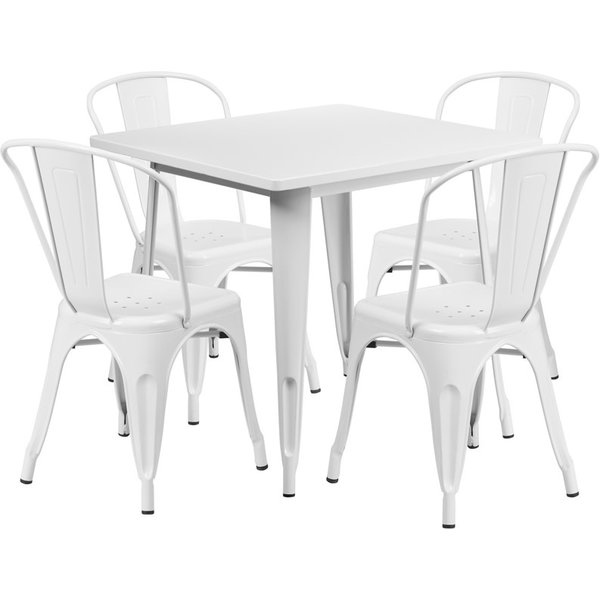"""Flash Furniture 31.5"""" SQUARE WHITE METAL INDOOR OUTDOOR TABLE SET W 4 STACK CHAIRS"""