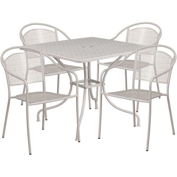 """Flash Furniture 35.5"""" SQUARE LIGHT GRAY INDOOR-OUTDOOR STEEL PATIO TABLE SET WITH 4 ROUND BACK"""
