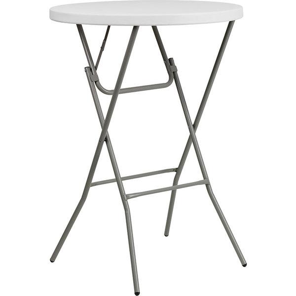 "Flash Furniture Flash Furniture 32"" Round Granite White Plastic Bar Height Folding Table"