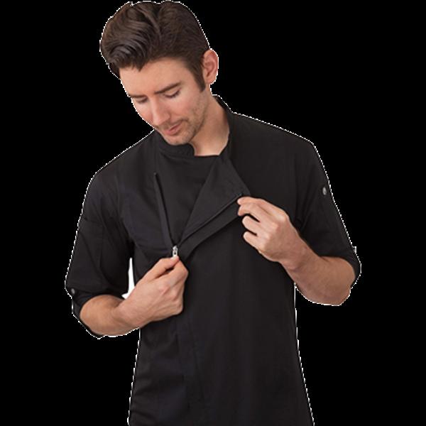 Chef Works Chef Works BCLZ008-BLK-L Hartford Chef's Coat Long Sleeve, Black, Large