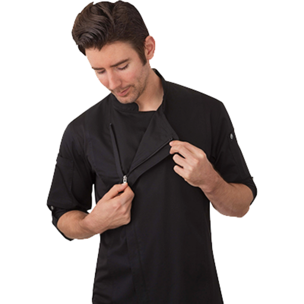 Chef Works Chef Works BCLZ008-BLK-XL Hartford Chef's Coat Long Sleeve, Black, X-large