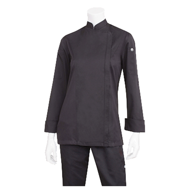 Chef Works Chef Works BCWLZ005-BLK-XL Hartford Chef's Coat Women Long Sleeve, Black, X-large