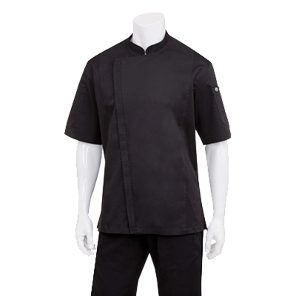 Chef Works Chef Works BCSZ009-BLK-S Springfield Chef's Coat Short Sleeve, Black, Small
