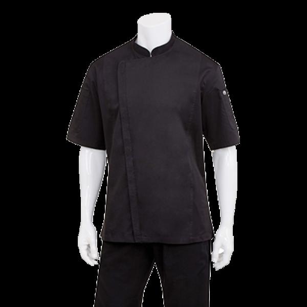 Chef Works Chef Works BCSZ009-BLK-L Springfield Chef's Coat Short Sleeve, Black, Large