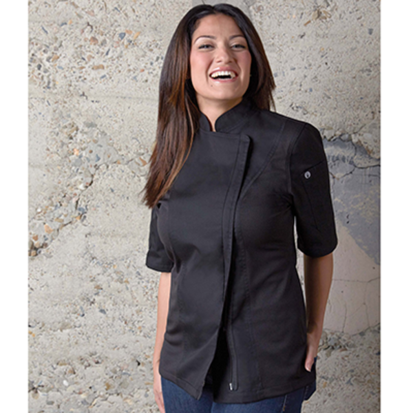 Chef Works Chef Works BCWSZ006BLKL Springfield Woman Chef's Coat Short Sleeve, Black, Large