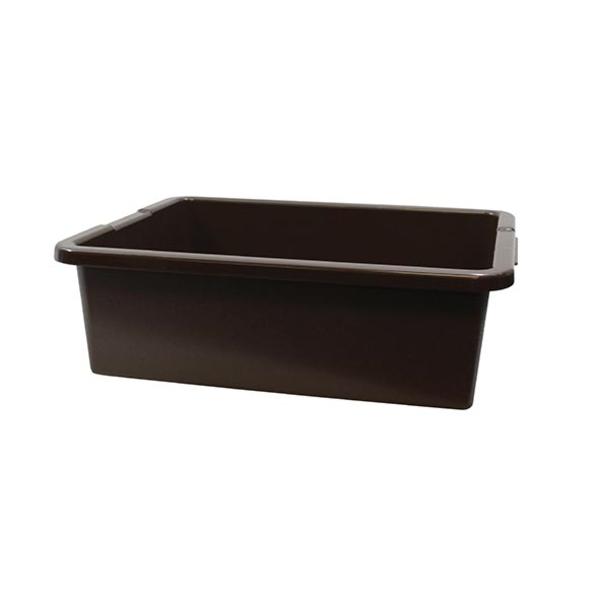 """TableCraft Tablecraft 1557BR Brown 21"""" x 17"""" x 7"""" Heavy Duty Polyethylene Plastic Bus Tub Bus Box"""