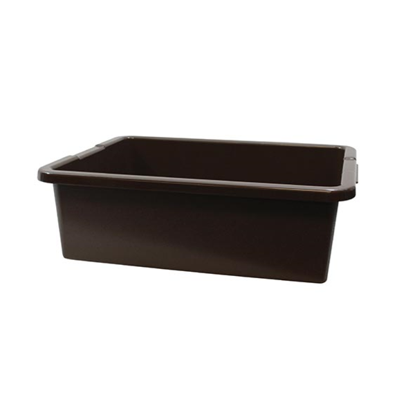 "TableCraft TableCraft 1557B Black 21"" x 17"" x 7"" Heavy Duty Polyethylene Plastic Bus Tub Bus Box"