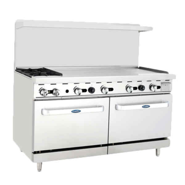 """Atosa Atosa ATO-2B48G CookRite Range Gas 2 Open Burners With 48""""W Griddle On Right Side"""