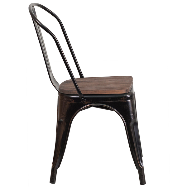 Flash Furniture Black-Antique Gold Metal Stackable Chair with Wood Seat