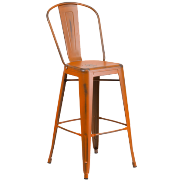 Flash Furniture Flash furniture 30'' High Distressed Orange Metal Indoor-Outdoor Barstool with Back