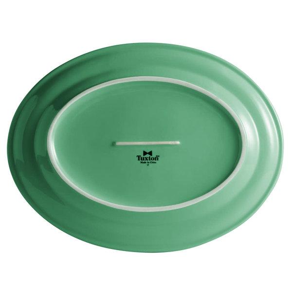 """Tuxton Tuxton CTH-116 11 1/2"""" x 8 3/8"""" Cilantro Oval China Platter - 12/Case"""