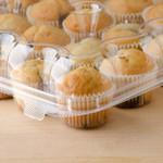 Choice Choice, 12 Compartment Clear Hinged High Dome Cupcake Container - 5/Pack