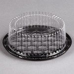 "D & W Fine Pack Cake Display Container with Clear Dome Lid 7"" 1/2"