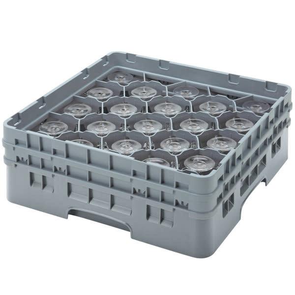 """Cambro Cambro 20S958151 Camrack Customizable 10 1/8"""" Gray 20 Compartment Glass Rack"""