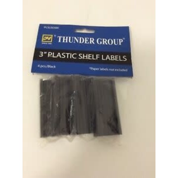 "Thunder Group Thunder Group PLSL003BK Shelf Label, 3"", plastic, black (4 pcs/pack)"