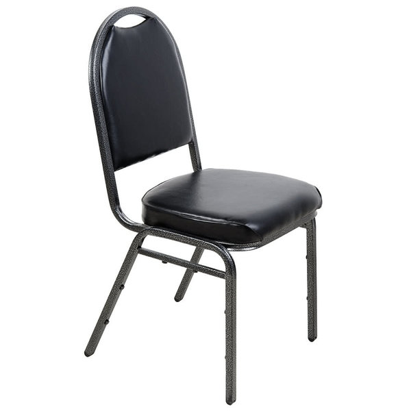 """Lancaster & Seating Black Stackable Banquet Chair Wiyh 2"""" Padded Seat"""