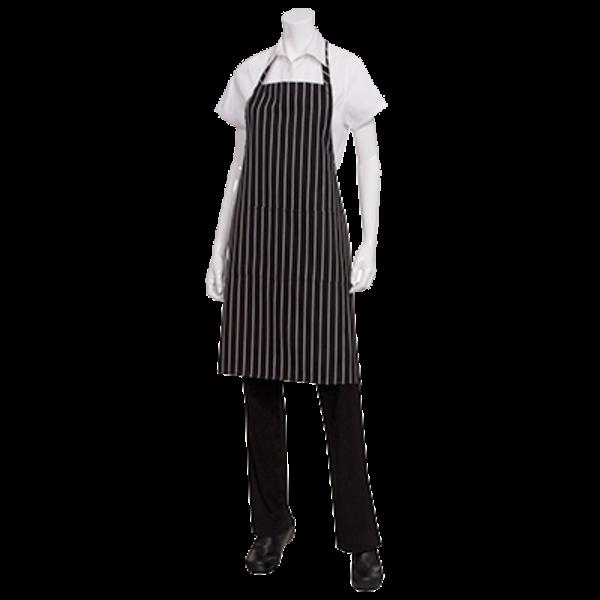 Chef Works Chef Works CSBA-BCS Bib Apron Patch Pocket Black With Chalk Stripes