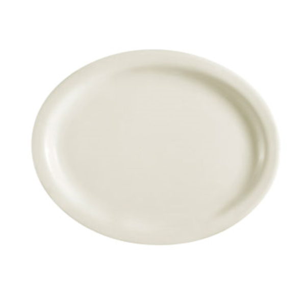 "C.A.C China C.A.C China NRC-27 Oval Narrow Platter, White, 13.5"" x 10.25"" x 1.75"" - 1 Dozen"